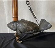 Japanese Hand Carved Wooden Jizaikagi Koi Bamboo And Iron Complete Vtg Antique