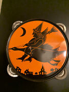 Vintage J Chein And Co 1930s Halloween Tambourine Noisemaker Witch / Mother Goose