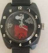 Vintage 1965 Snoopy And The Red Barron Flying Ace Wind-up Wristwatch Watch Works