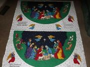 Vtg 2002 Fabric Traditions Quilted Nativity Tree Skirt Fabric Panels 50 Circle