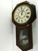 Vintage E.n.welch Verdi Hexagon Wall Drop Clock With Chime - Wind Up J20