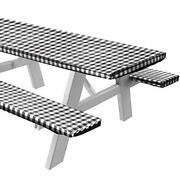 Vinyl Picnic Table And Bench Fitted Tablecloth Cover Checkered Design Flannel