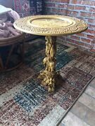 Vintage Asian Heavily Carved Resin Elephant Circular Plant Stand Pedestal Table