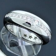 Authentic H.stern 18k White Gold Round Diamond 0.70ctw Band Ring Size 5.5