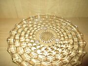 Fostoria American Cubist Footed 3-toed Feet Round 12 Clear Glass Cake Plate