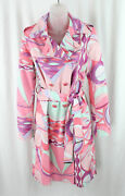 Pucci Authentic Pink Purple Multi Print All Weather Trench Coat Jacket Sz 8