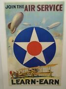 Original Antique Ww1 Poster Us Army Air Corps Join The Air Service Learn Earn