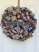 Farmhouse Rustic Football Wreath With Blue, White And Silver Deco Mesh