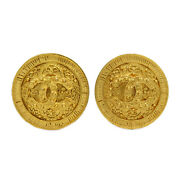 Coco Mark Earring Jewellery Gp Gold Plated Women 's System 11a No.1789