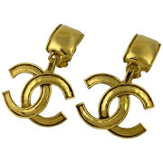 Coco Mark Earring Cc Swing Gp Gold Women And039s Previously Owned No.1785