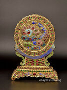 7.8 China Collection Qing Dynasty Old Pure Copper Seiko Casting Gilt Screen