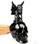 7.6 Black Obsidian Carved Crystal Skull With Fairy Standing Sculpture 966