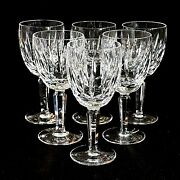 6 Six Waterford Kildare Vintage Cut Lead Crystal Water Goblets - Signed