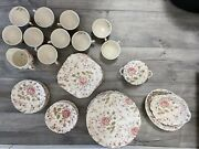 Johnson Brothers Pink Rose Chintz England Made Dinnerware Set Floral Antique
