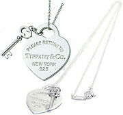 Tiffanyandco.. Key Heart Tag Plate 925 Silver Rtt Necklace Return To