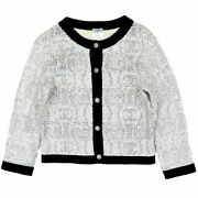 08p Spangle Cashmere Letter No Color Cardigan Women And039s White No.5006