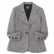 Vintage Jacket Wool Tweed Logo Button Outer Women And039s Gray No.5209