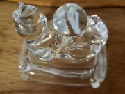 2 Cristal D Arques Figurines Francelead Crystalbear With Ball And Cat With Yarn