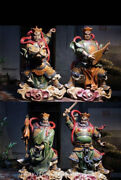 20 Old Chinese Wucai Porcelain Pottery 4 Great Heavenly Kings God Statue Set