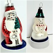Vintage Hand Painted Glass Christmas Ornaments Santa And Snowman
