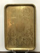 Antique Persian Middle Eastern Brass Chased Tray Arabic Islamic Hand Engraving