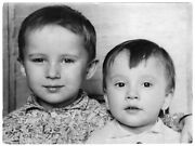 Vintage Photo Russia Little Boy, Hugging Brothers Childhood Found Snapshot 5151f