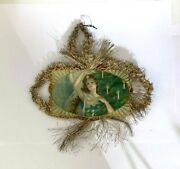 Antique Victorian Angel Scrap Tinsel Embossed Christmas Tree Ornament