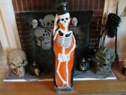 Rare 1997 Union Halloween Skeleton With Tombstone Lighted Blow Mold