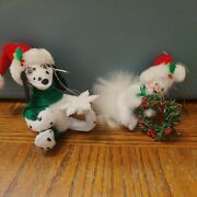 Annalee Christmas Ornaments Dalmatian Holding Snowflake And White Cat Holding Wrea