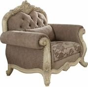 Acme Ragenardus Chair With 1 Pillow In Gray And Antique White Finish 56022