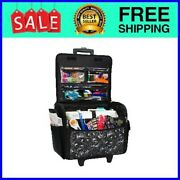 Rolling Sewing Machine Tote Bag Craft Case Wheels Handle Brother Singer Carrier
