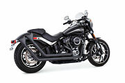 Black Up Sweeps Full Exhaust W/fishtail Endcaps Hd00765 For 18-20 H-d Softail