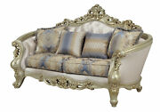 Acme Traditional Gorsedd Loveseat With Fabric And Antique White Finish 52441
