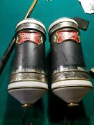 Pair 1984 Miller High Life Beer Motion Bouncing Ball Rotating Light Sconce Signs