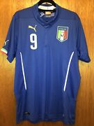 Authentic Italy 🇮🇹 Home Soccer Jersey 2014 Balotelli 9 Menand039s Large
