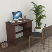 Computer Desk With 2 Pull Out Storage Drawers And Stable Wooden Frame Walnut