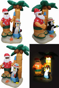 7 Foot Christmas Inflatable Santa Claus And Penguin With Palm Tree Multicolor