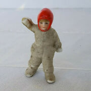 Antique Miniature 2 Germany Bisque Snow Baby Doll Boy Snowsuit Red Balaclava