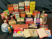 Huge Lot Vintage Kitchen Metal Tin Can Spices Canning Lids Thermometer Coloring+