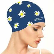 Marsolly Silicone Swim Cap For Women, Waterproof Long Hair Swimming Caps With Fl
