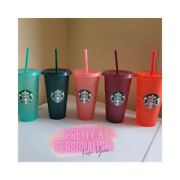 Personalised Glitter Reusable Starbucks Tumbler Cup With Straw Venti Quirky Gift