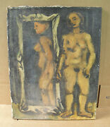 Original Abstract Listed Art Stuart Carson Edie Painting Nude Woman In Mirror