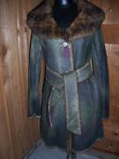 Custo Barcelona Misses Coat With Faux Fur Collar And Lining Size 4 Nwt