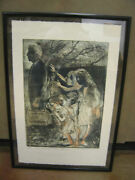 Vintage Antique Signed In Search Of Our Father Abstract Expressionism Print