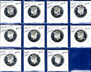 1999 - 2009 S Silver Proof Kennedy Half Set Of 11-gem Proof-90 Silver