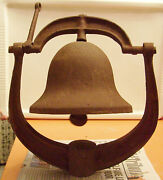 Antique 1700-1800and039s Iron Bell Marked Usa Post Railroad Church School Ship