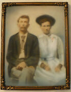 Antique Photograph Painting Opalotype Milk Glass German Germany