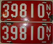 Antique Rare Matched Pair 1912 New York State Porcelain License Plates 39810