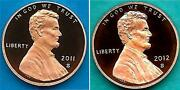 2011 S And 2012 S Proof Lincoln Cents Penny - Ultra Cameo-two Coins-in Stock
