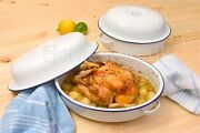 Oval / Round Roaster Enamel Dish Roasting Oven Tray Casserole Pan White With Lid